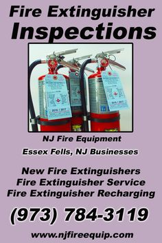 Fire Extinguisher Inspections Essex Fells, NJ (973) 784-3119We're NJ Fire Equipment.. The Main Source for Fire Protection for New Jersey Businesses. Call Today!  We would love to hear from you.