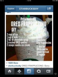 Oreo Starbucks frappucchino no coffee Starbucks Secret Menu Drinks, Starbucks Hacks, Oreo Starbucks, Homemade Starbucks Recipes, Starbucks Frappuccino, Starbucks Coffee, Milkshake Recipes, Milkshakes, How To Order Starbucks