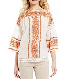 M.S.S.P. Square Neck Bell Sleeve Cross Stitch Border Blouse