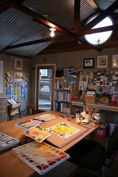 JP's studio and sunflower painting demo by tomandjp, via Flickr