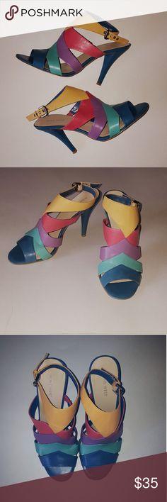 Nine West Vintage Multicolor Retro Strappy Heels Vintage Nine West Heels  Size 8  4in heel  Yellow, red, purple, teal, blue  Adjustable strap  Good Condition  Thanks for reading! Nine West Shoes Heels