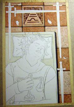 #WIP #4ofSwords #FourOfSwords #RebeccaSinz #78Tarot #SeventyEightTarot #Soldier #Resting #warrior #sketch #art #arwork #drawing #tiles #painting #background #swords #knight #tarot https://www.facebook.com/elvenstarart