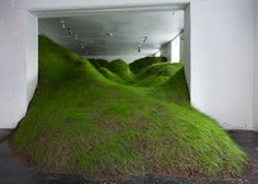 Grassy valley crammed into an Oslo gallery.