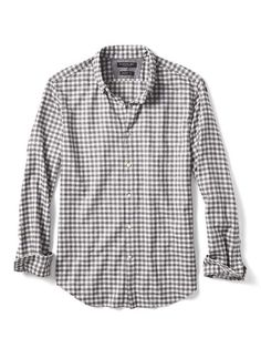 d4c730bf01c Grant-Fit Luxe Flannel Gingham Shirt (M) - Dark Gray - from Banana