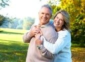 Older_couples : Happy elderly seniors couple in park  Stock Photo