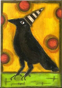 Crow with a hat by nayski via Flickr (inspiration for an ATC)