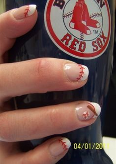 cute nails for a Baseball wedding -I'm doin this