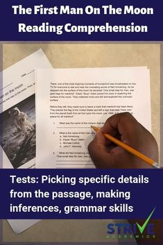 The First Man On The Moon Reading Comprehension Worksheet Reading Comprehension Worksheets, Reading Passages, Reading Resources, Writing Activities, Primary Resources, Comprehension Strategies, School Resources, Classroom Activities, Reading Practice
