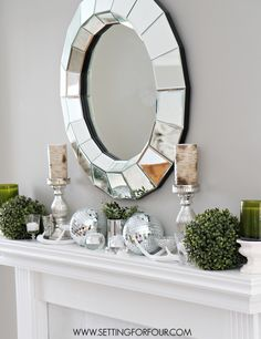 See these Winter Mantel Decorating Ideas - sparkle and shine mixed with rustic simplicity. www.settingforfour.com