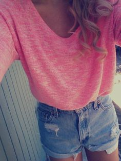 cropped sweater with jean shorts. Perfect for a bonfire! Come in to Plato's Closet Appleton to get this look :)