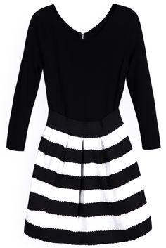 Black Long Sleeve Contrast Striped Dress