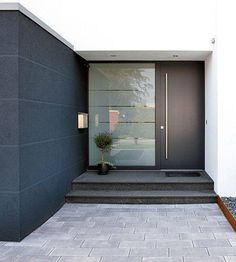 22 Modern Door Design Ideas - Local Home US - Home Improvement Black Front Doors, Modern Front Door, Front Door Design, House Doors, House Entrance, Front Door Entrance, Front Entry, Renovation Facade, Exterior Doors