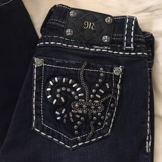 Miss me jeans Miss me jeans. Size 27 skinny. Lightly worn. Dark blue jeans. Embellished on back Miss Me Jeans Skinny