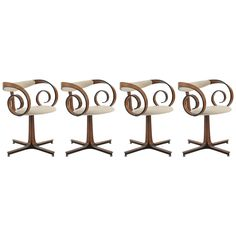 Four Rare Scroll Chairs by George Mulhauser for Plycraft | From a unique collection of antique and modern dining room chairs at https://www.1stdibs.com/furniture/seating/dining-room-chairs/