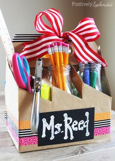 A teacher gift idea to embellish a beverage holder and fill with school supplies from MichaelsMakers Postively Splendid