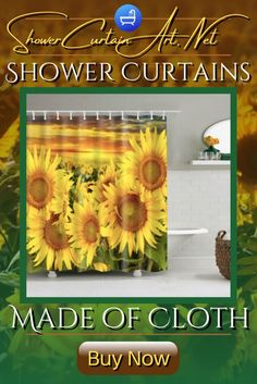 High Quality Fabric! Our luxurious high quality fabric shower curtains are all made with 100% premium grade soft polyester cloth. This allows the curtain to drape gracefully while also providing quick drying technology which easily evaporates any unwanted moisture. Shower Curtain Art, Cool Shower Curtains, Floral Shower Curtains, Wild Sunflower, Bath Screens, Shower Accessories, Flower Prints, Farmhouse Decor, Room Decor