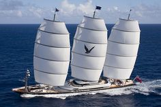The Maltese Falcon is one of the world's largest private sailboats. It's 289 feet long. The masts are computer operated, which means extremely aerodynamic efficiency and speed. There's three floors all decked out and comes with two 32-foot Pascoe tenders with water skis, four laser sailboats, six sets of diver gear, and a 14-foot Castoldi Jet tender. It's like a home on water, but it's a yacht.