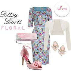Ditsy Floral Doris Dress by nyla-rose on Polyvore featuring Pink, wedding, floralprint and RACES