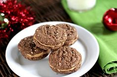 Mexican Hot Chocolate Sandwich Cookies recipe with dark chocolate, cinnamon, almonds, ancho chile, and cajeta. Easy holiday, Christmas, or anytime cookie.