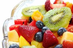 Fruit Salad With Honey Dressing 2 Tbs. orange juice 1 Tbs. honey 4 cups mixed fruit and berries. Options include strawberries, blueberries, blackberries, mango, melon, kiwi, apple, seedless tangerine or Clementine. A few sprigs mint (optional)