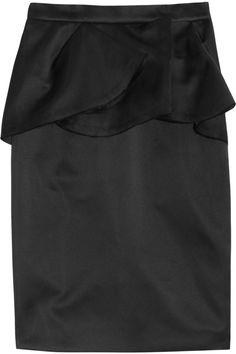 Lanvin Satin folded peplum-front skirt NET-A-PORTER.COM