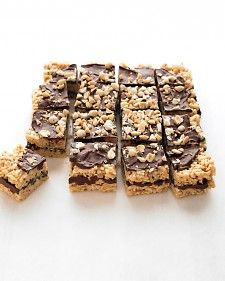 Transform out-of-the-box rice cereal into peanut-y cookie bars spread with melted chocolate.