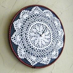 Embroidery hoop, fabric, doily, clock work... why didn't I think of that?