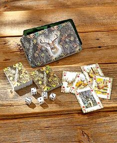 The Outdoorsman Card & Dice Tin keeps these classic games safe and sound. It features cards and dice in an attractive felt-lined case with an embossed lid. When not in use, the tin keeps everything in pristine condition. Plastic.