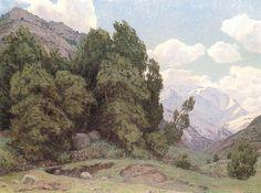 """""""Paisaje Cordillerano"""" Alfredo Araya. Óleo sobre tela (131,5x95). Pintor de paisajes cordilleranos, de prolífica producción, seguidor del estilo y escuela de Valenzuela Llanos."""