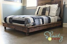 Build a wood platform bed out of boards in no time with this simple step by step diy plan. Wood platform bed features wood slats and a solid wood frame with wood legs. Inspired by Pottery Barn Teen Hampton Planked Platform Bed. Furniture Projects, Furniture Plans, Diy Furniture, Wood Projects, Ana White Furniture, Furniture Storage, Bed Storage, Rustic Furniture, Bedroom Furniture