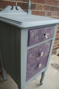 AH! Yes. Blue lace over my large dresser drawers and once my tall dresser drawers are painted blue I can modge podge white lace over those drawers
