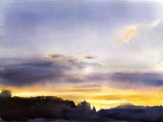 """""""These are the days"""" - beautiful watercolor sunrise (?) by Jon Muth. In relation to N&L, I imagine the girls having a strong connection to the natural world."""