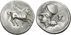 Ancients: Classic Greek Coins: Part 1 Corinth Greece, Corinthian Helmet, Different Symbols, Winged Horse, Athena Goddess, Antique Coins, Greek Art, Pegasus, Ancient Greek