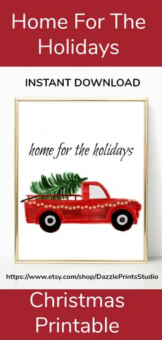 Beautiful home for the holidays, Christmas printables, perfect to add to your Christmas decorations. This beautiful watercolor, red truck decor is the perfect addition to any of your Christmas decorations. Christmas Printables, Christmas Themes, Red Truck Decor, Farmhouse Wall Art, Woodland Christmas, Halloween Prints, Xmas Decorations, Etsy Handmade, Printable Wall Art