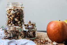 A delicious fall twist on your regular Granola perfect for October! Fresh Apples, Granola, Healthy Fats, Healthy Recipes, Good Carbs, Love Eat, Apple Butter, Tray Bakes, Muesli