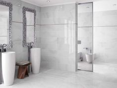 A simple but spectacular #bathroom with Absolute Ice from Absolute series.#ceramics #tiles #interiordesign #decorative