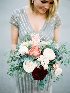 Sparkly Dress + Beautiful Bouquet | photo by Brumley & Wells