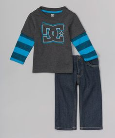 This DC Black Layered Tee & Denim Jeans - Infant & Toddler by DC is perfect! #zulilyfinds
