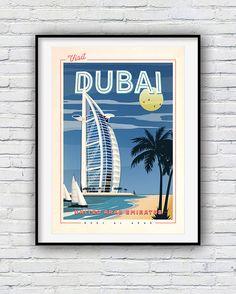 Dubai Print Travel Poster Retro Poster Dubai Poster City