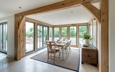 Pearmain - Border Oak - oak framed houses, oak framed garages and structures. One day I will have a house with lots of windows. Pearmain - Border Oak - oak framed houses, oak framed garages and structures. One day I will have a house with lots of windows. Garden Room Extensions, House Extensions, Kitchen Extensions, Bungalow Extensions, Oak Framed Extensions, Border Oak, Tiny House Family, Oak Framed Buildings, Oak Frame House