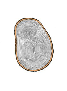 original ink and gold paint wood slice drawing