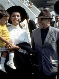 Sophia Loren, Carlo Ponti, and Son Carlo Ponti Jr.