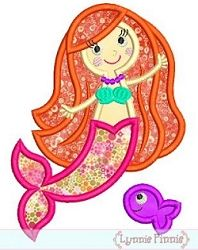 Mermaid Fish Applique - 3 Sizes | Beach/Ocean | Machine Embroidery Designs | SWAKembroidery.com Lynnie Pinnie