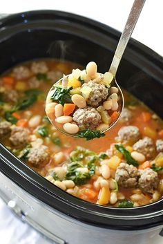 Slow Cooker Tuscan White Bean Soup and Sausage Soup