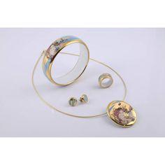 ZEMA Faragó Tavasz, arannyal festett, porcelán ékszer kollekció Porcelain Jewelry, My Love, Bracelets, Gold, Bangles, Bracelet