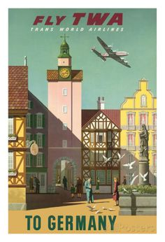 Germany - Fly TWA Trans World Airlines reproduction procédé giclée