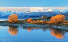 Autumn Reflections, Church of the Good Shepherd, Lake Tekapo - South Island, New Zealand : Sisson New Zealand Holidays, Central Otago, Lake Tekapo, New Zealand Landscape, The Good Shepherd, South Island, What Is Like, Reflection, Places