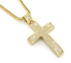 Hip Hop Bling Gold Tone Jesus Block Cross Pendant