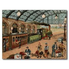 vintage steam train and railway station