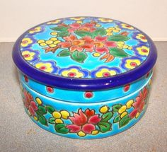 Longwy French Pottery Cloisonne Covered Box Jar